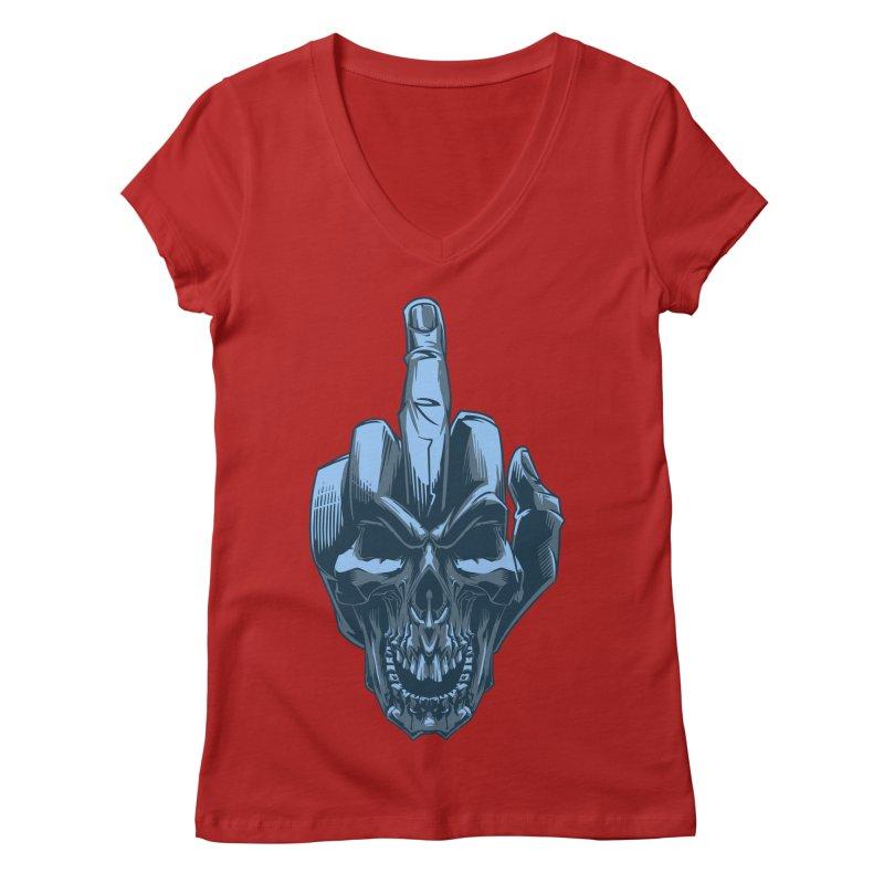 Fuck Skull Women's V-Neck by fishark's Artist Shop
