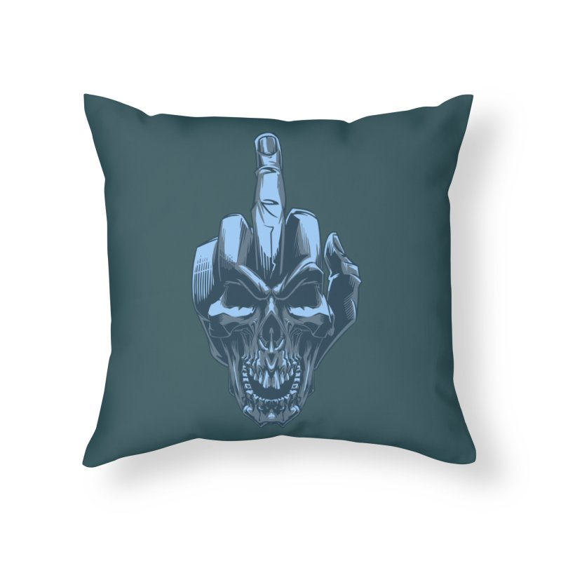 Fuck Skull Home Throw Pillow by fishark's Artist Shop