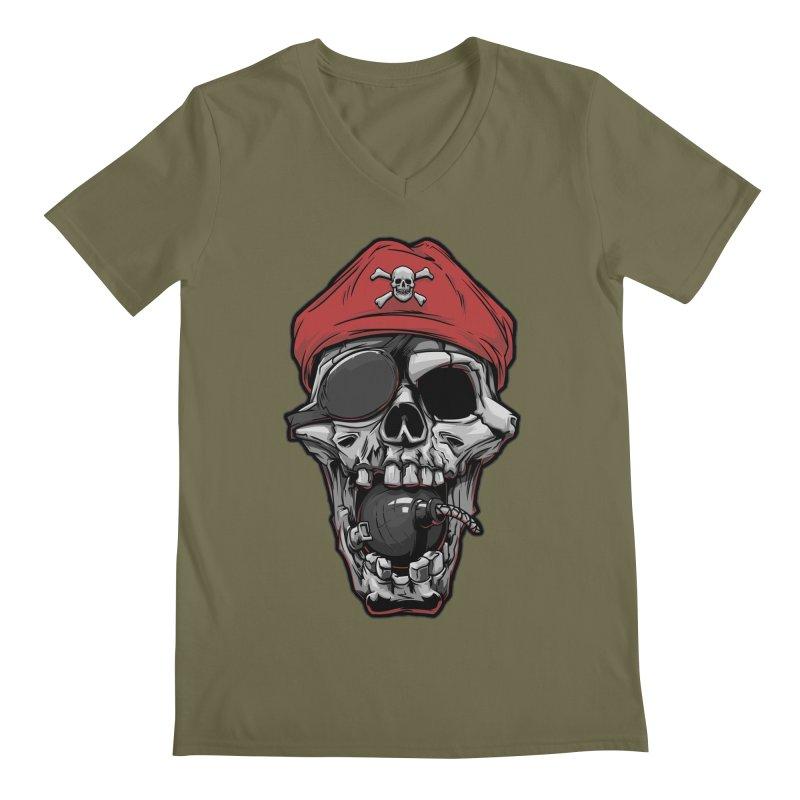Skull pirate Men's V-Neck by fishark's Artist Shop