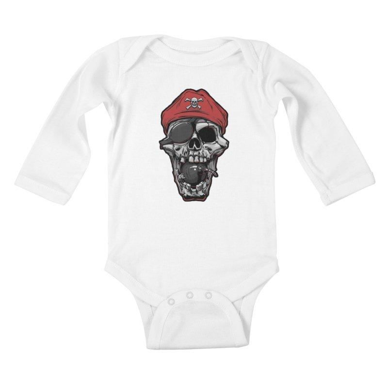 Skull pirate Kids Baby Longsleeve Bodysuit by fishark's Artist Shop