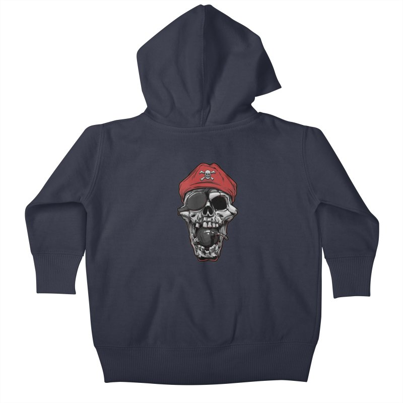 Skull pirate Kids Baby Zip-Up Hoody by fishark's Artist Shop