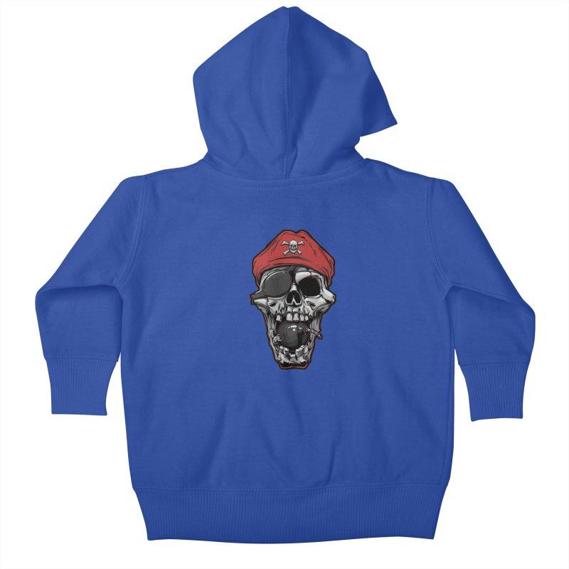 Skull pirate Kids Baby Zip-Up Hoody by fishark's Artist Shop