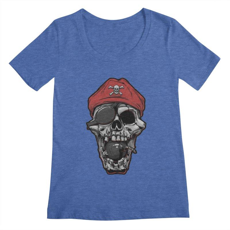 Skull pirate Women's Scoopneck by fishark's Artist Shop