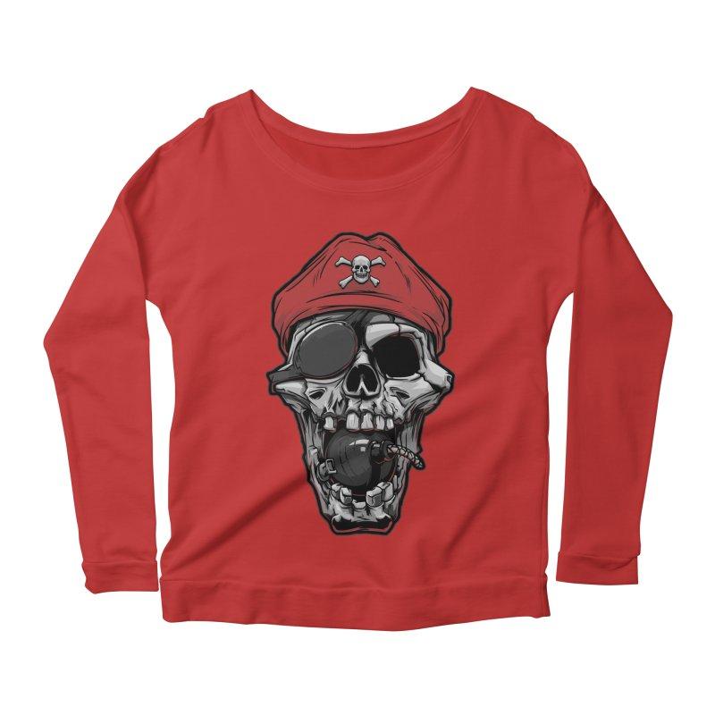 Skull pirate Women's Longsleeve Scoopneck  by fishark's Artist Shop