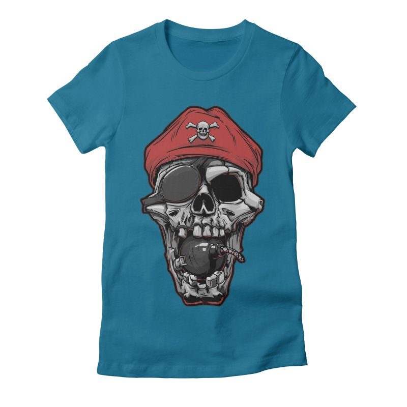 Skull pirate Women's Fitted T-Shirt by fishark's Artist Shop