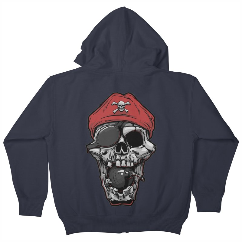 Skull pirate Kids Zip-Up Hoody by fishark's Artist Shop