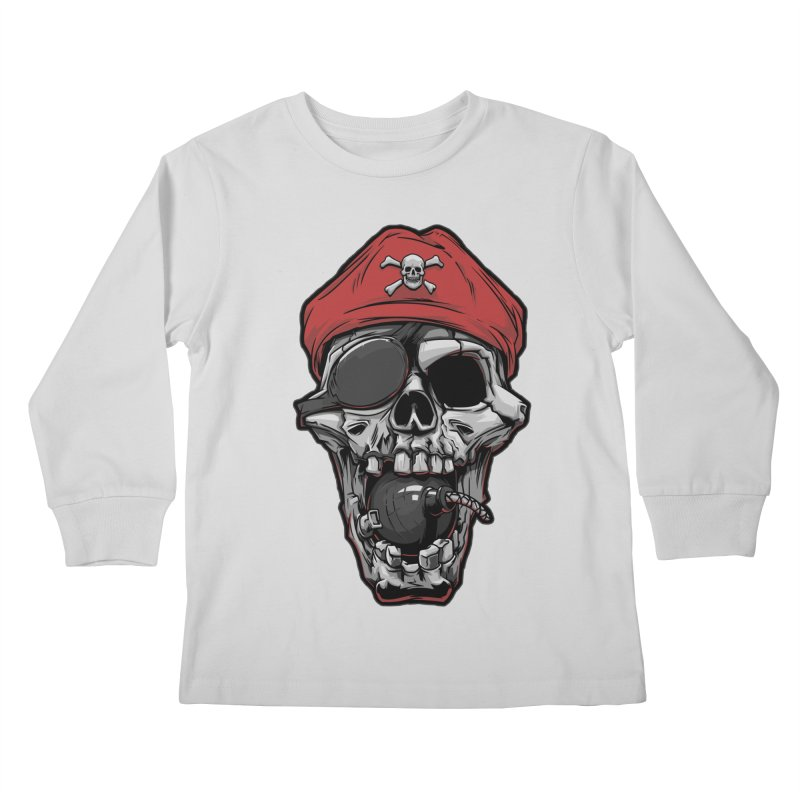 Skull pirate Kids Longsleeve T-Shirt by fishark's Artist Shop