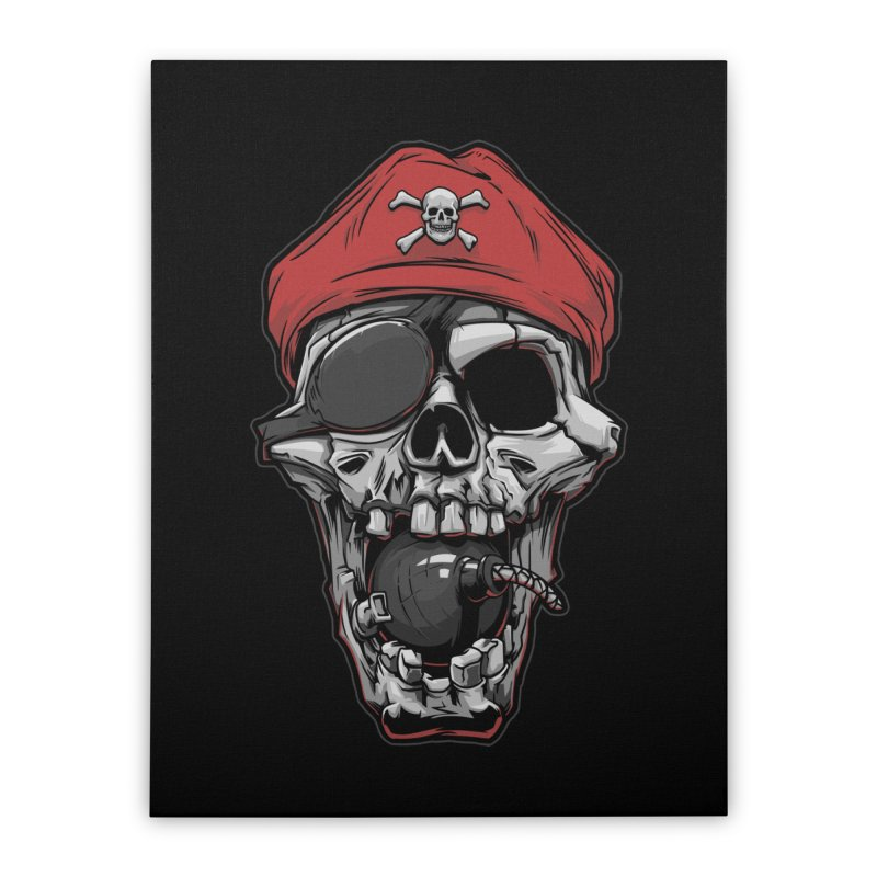 Skull pirate Home Stretched Canvas by fishark's Artist Shop