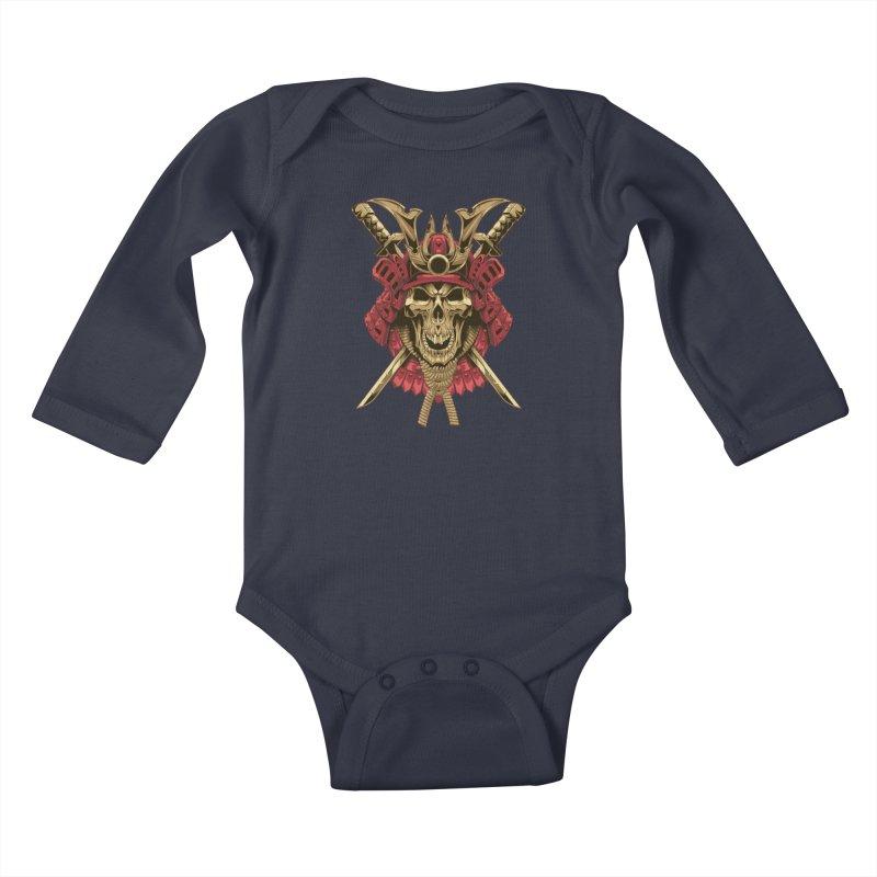 skull samurai Kids Baby Longsleeve Bodysuit by fishark's Artist Shop