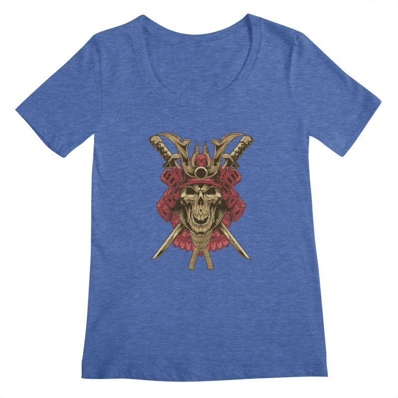 skull samurai Women's Scoopneck by fishark's Artist Shop