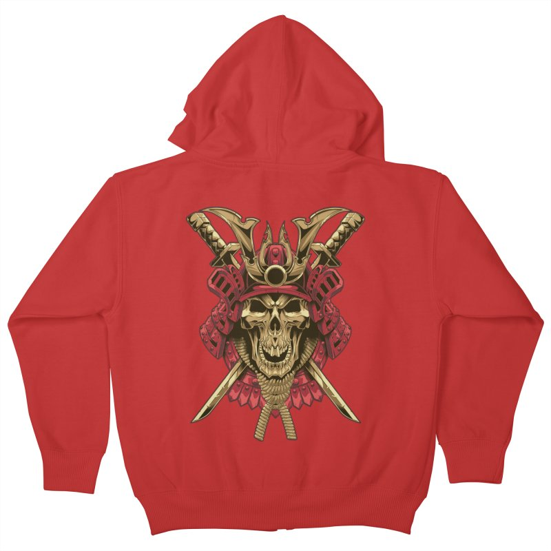 skull samurai Kids Zip-Up Hoody by fishark's Artist Shop