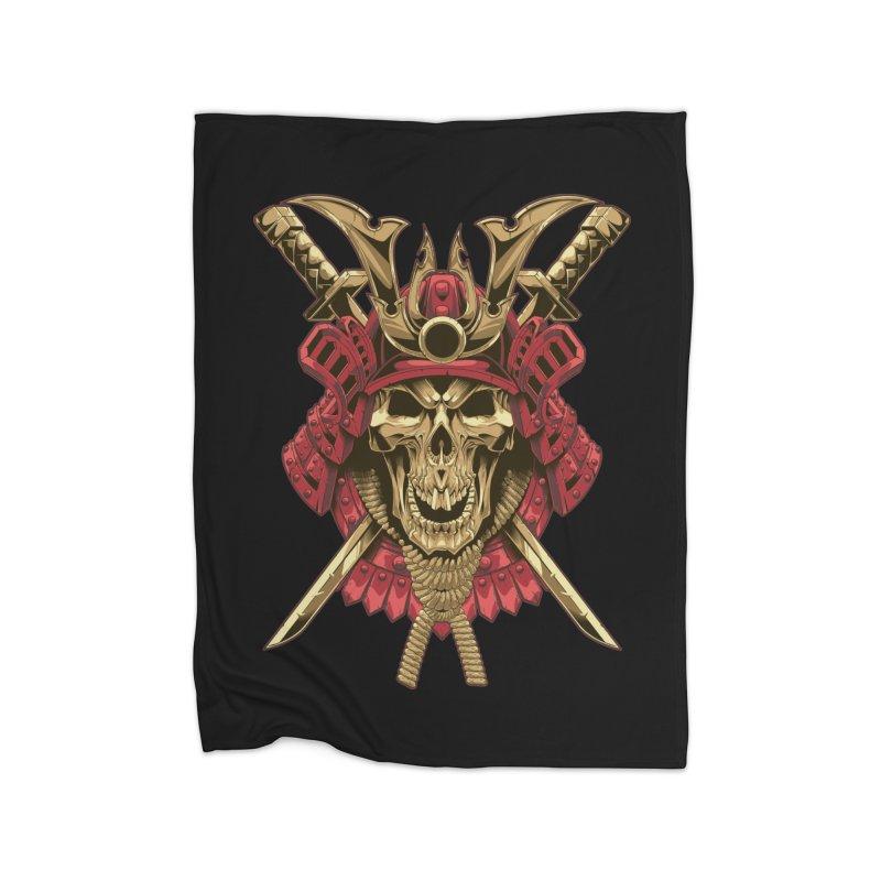 skull samurai Home Blanket by fishark's Artist Shop
