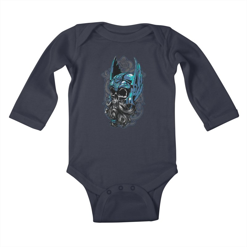 Skull viking Kids Baby Longsleeve Bodysuit by fishark's Artist Shop