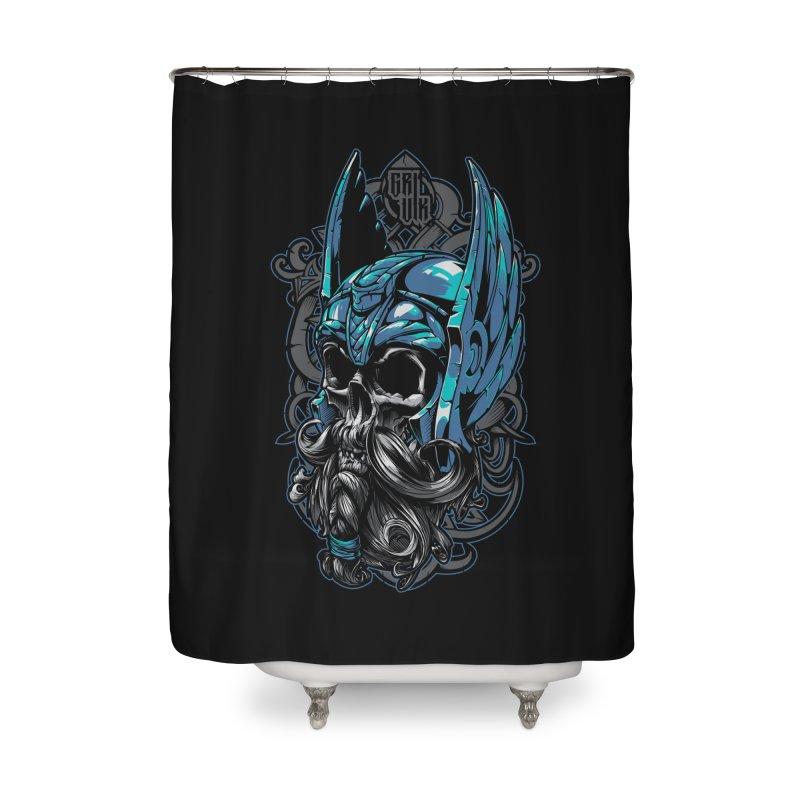 Skull viking Home Shower Curtain by fishark's Artist Shop