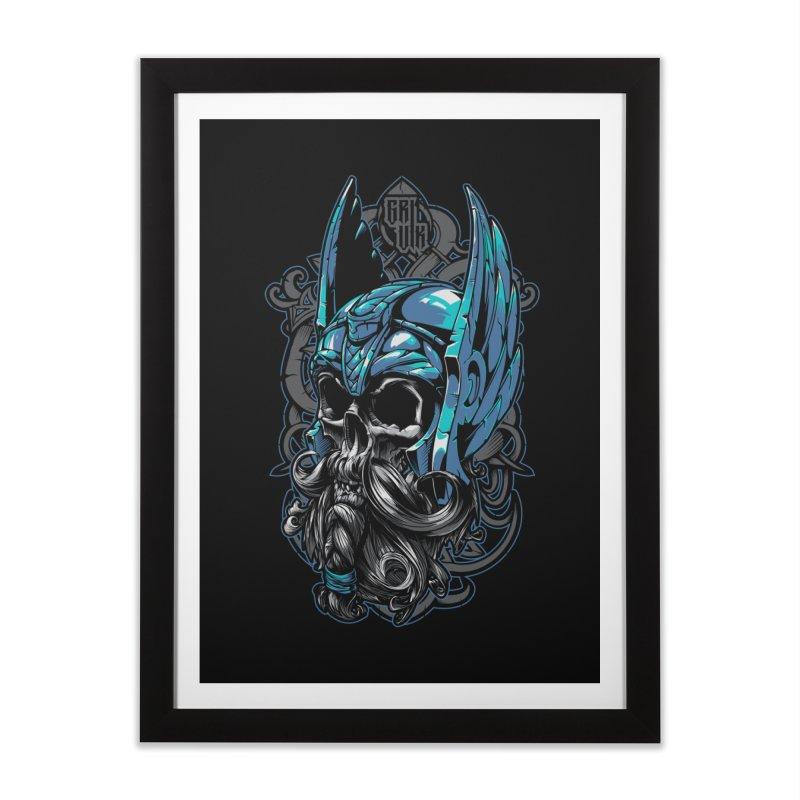 Skull viking Home Framed Fine Art Print by fishark's Artist Shop