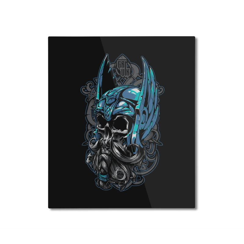 Skull viking Home Mounted Aluminum Print by fishark's Artist Shop