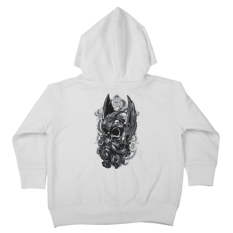 Skull viking Kids Toddler Zip-Up Hoody by fishark's Artist Shop