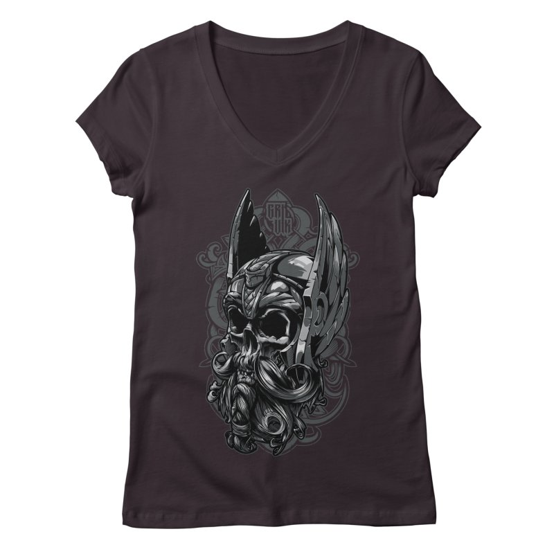 Skull viking Women's V-Neck by fishark's Artist Shop