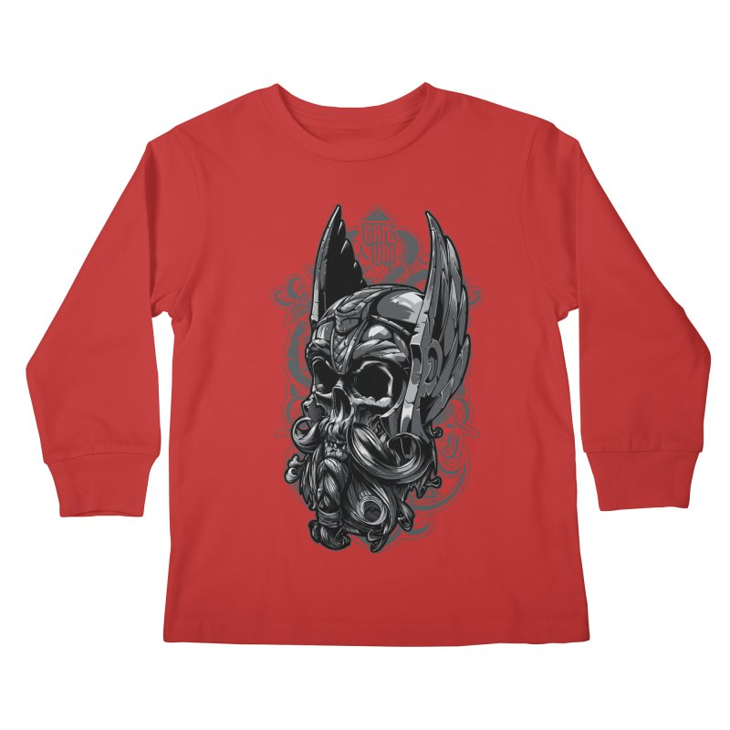 Skull viking Kids Longsleeve T-Shirt by fishark's Artist Shop