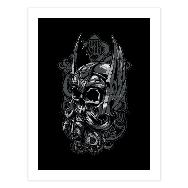 Skull viking Home Fine Art Print by fishark's Artist Shop