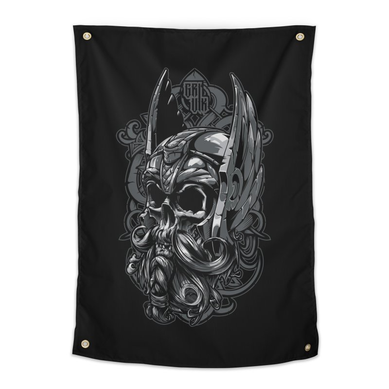 Skull viking Home Tapestry by fishark's Artist Shop