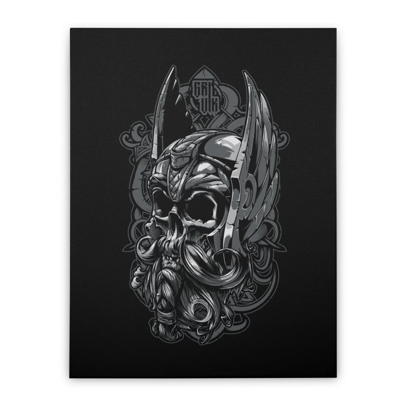 Skull viking Home Stretched Canvas by fishark's Artist Shop