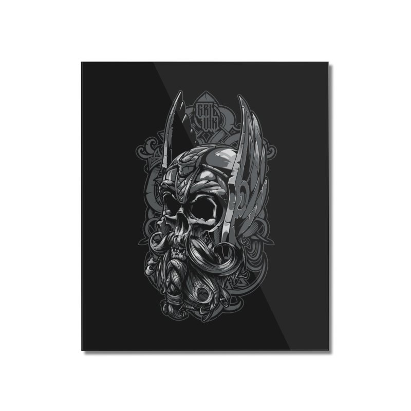Skull viking Home Mounted Acrylic Print by fishark's Artist Shop