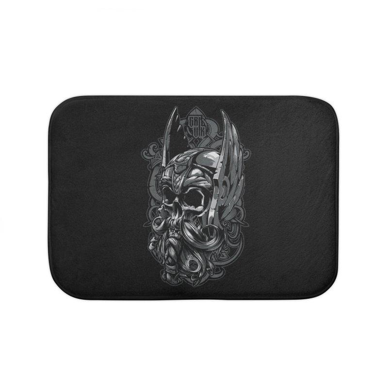 Skull viking Home Bath Mat by fishark's Artist Shop