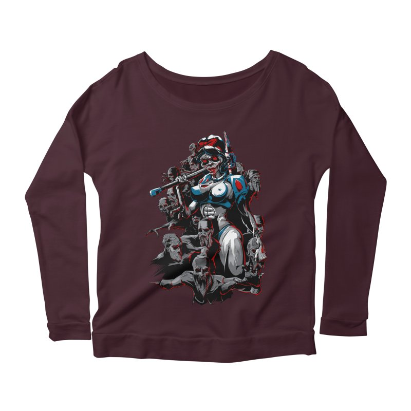 zombie snow white and dwarfs 666 Women's Longsleeve Scoopneck  by fishark's Artist Shop