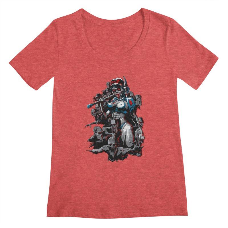 zombie snow white and dwarfs 666 Women's Regular Scoop Neck by fishark's Artist Shop