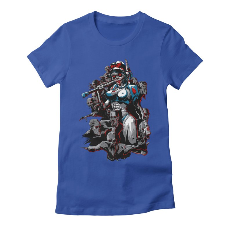 zombie snow white and dwarfs 666 Women's Fitted T-Shirt by fishark's Artist Shop
