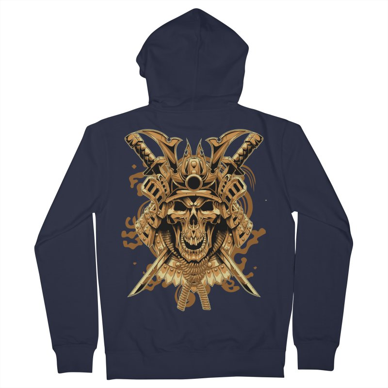 Skull samurai Men's French Terry Zip-Up Hoody by fishark's Artist Shop