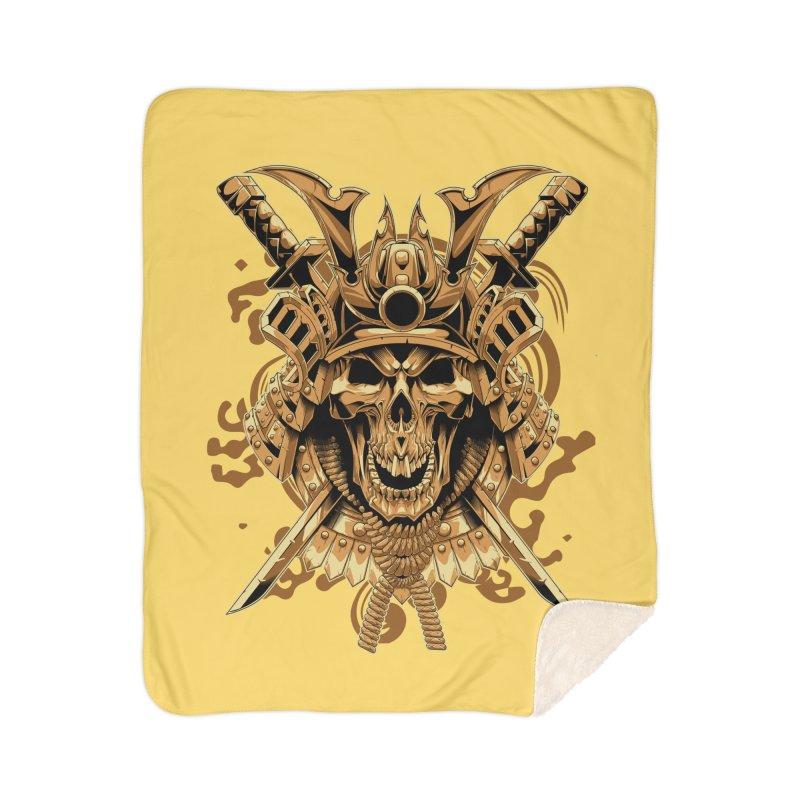 Skull samurai Home Sherpa Blanket Blanket by fishark's Artist Shop