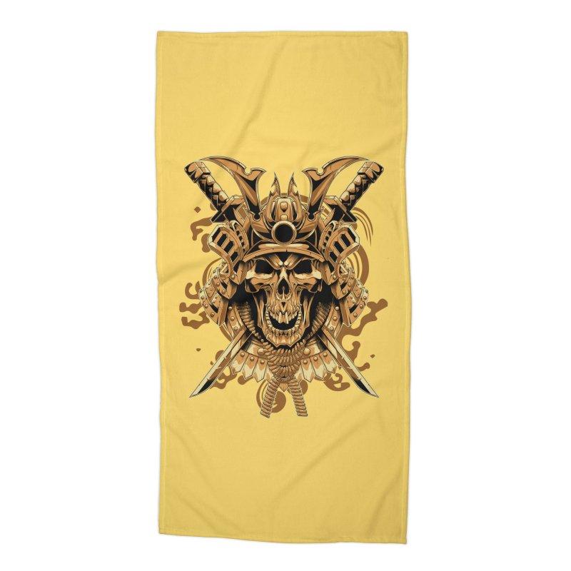 Skull samurai Accessories Beach Towel by fishark's Artist Shop
