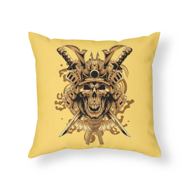 Skull samurai Home Throw Pillow by fishark's Artist Shop