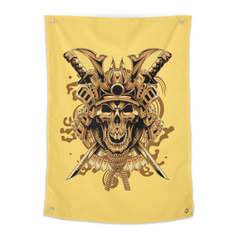Skull samurai Home Tapestry by fishark's Artist Shop
