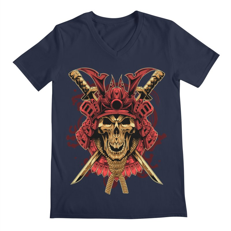 Skull Samurai Men's Regular V-Neck by fishark's Artist Shop