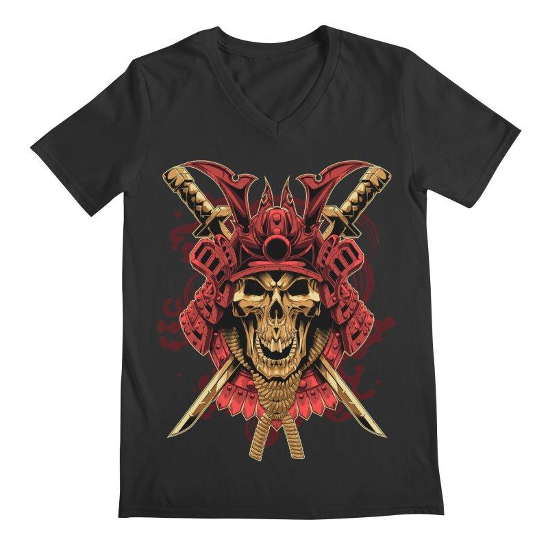 Skull Samurai Men's V-Neck by fishark's Artist Shop