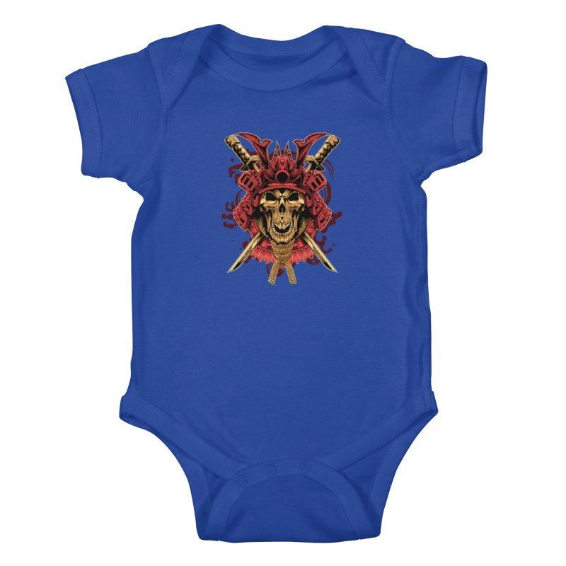 Skull Samurai Kids Baby Bodysuit by fishark's Artist Shop