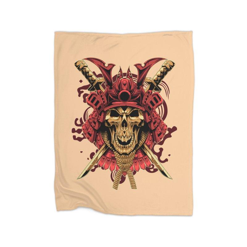 Skull Samurai Home Fleece Blanket Blanket by fishark's Artist Shop