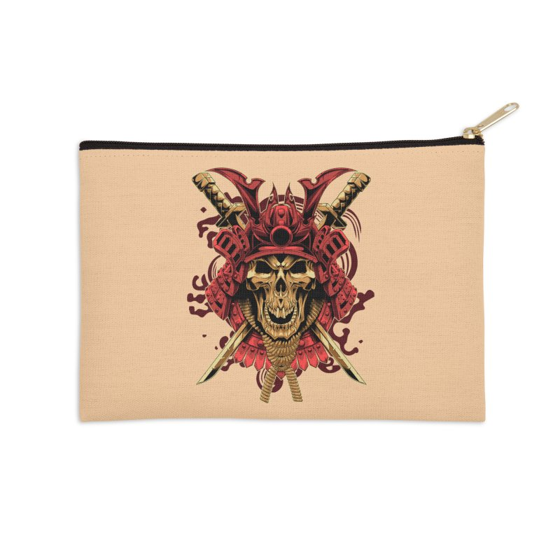 Skull Samurai Accessories Zip Pouch by fishark's Artist Shop