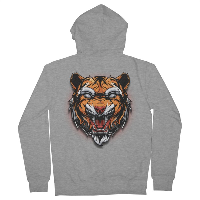 Tiger Men's French Terry Zip-Up Hoody by fishark's Artist Shop
