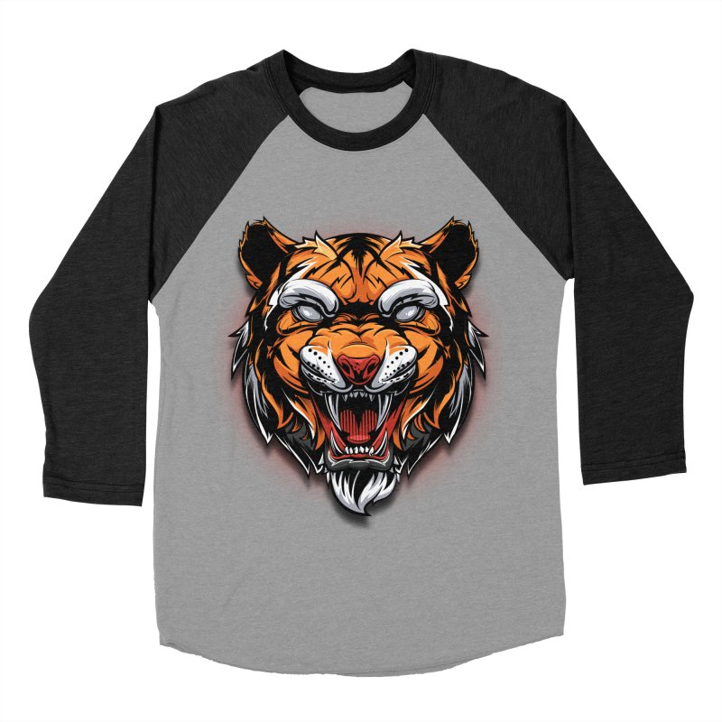 Tiger Women's Baseball Triblend Longsleeve T-Shirt by fishark's Artist Shop