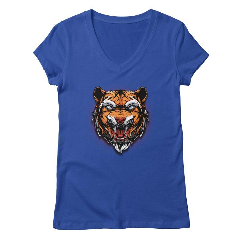 Tiger Women's Regular V-Neck by fishark's Artist Shop