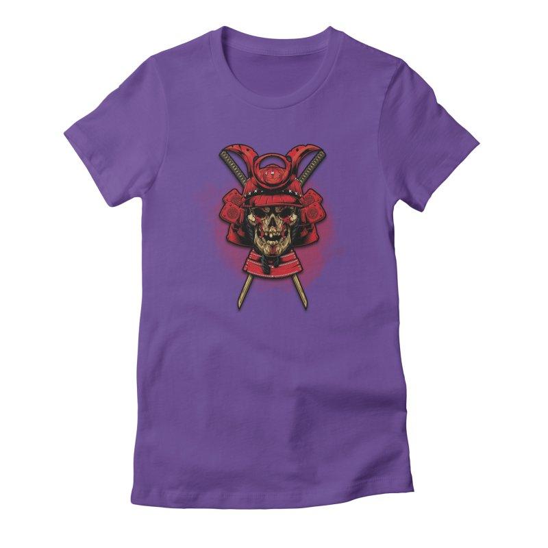 Skull Samurai Women's Fitted T-Shirt by fishark's Artist Shop