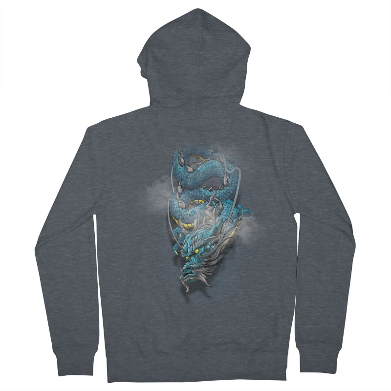 Japanese dragon Men's French Terry Zip-Up Hoody by fishark's Artist Shop