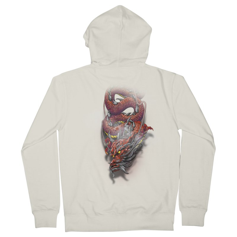 Red Japanese dragon Men's French Terry Zip-Up Hoody by fishark's Artist Shop