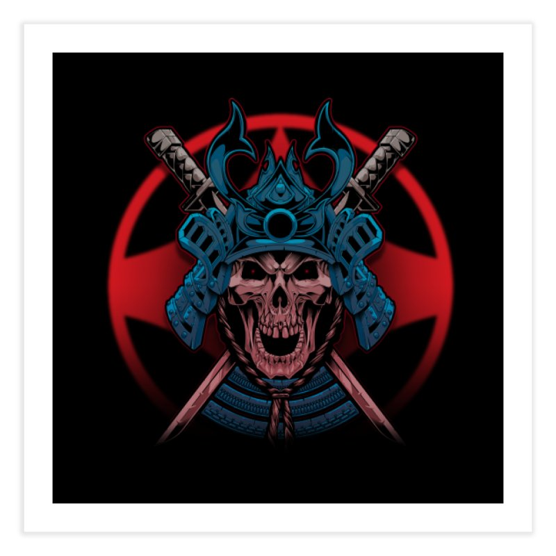 skull samurai Home Fine Art Print by fishark's Artist Shop
