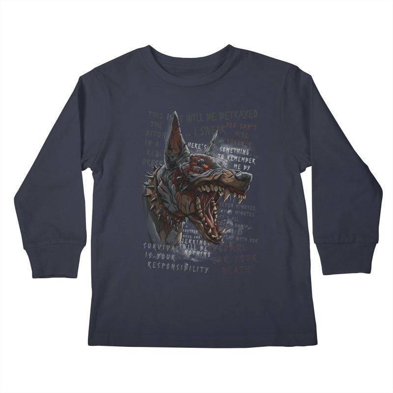 Evil cyber dog Kids Longsleeve T-Shirt by fishark's Artist Shop
