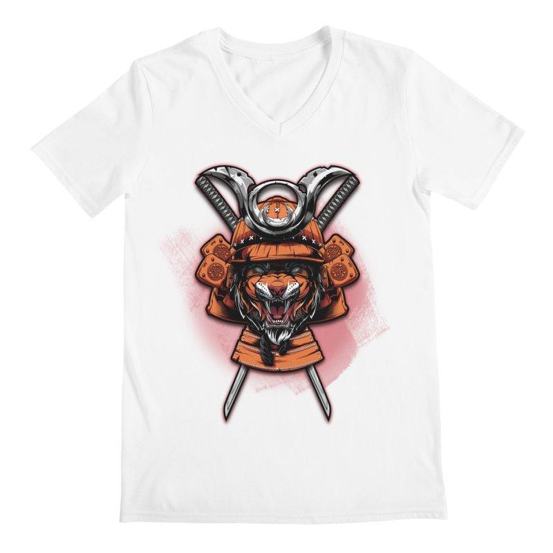 Tiger samurai Men's V-Neck by fishark's Artist Shop